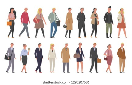A diverse fashion set of people walking down the street. flat design vector graphic style concept illustration.