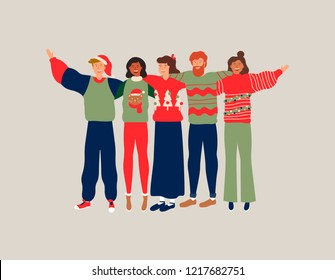Diverse friend group in christmas season, young people hugging together with winter clothes for holiday celebration. Girls and boys team hug on isolated background, includes copy space.