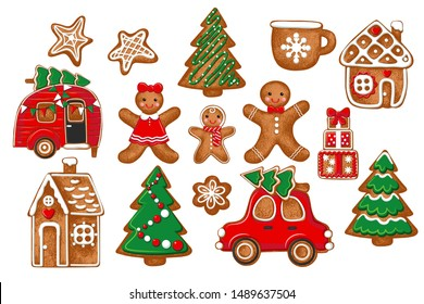 Diverse gingerbread collection . Vector illustration of holiday baking. Christmas collection.