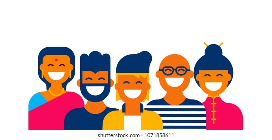 Diverse global people teamwork of different cultures. Happy women and men in modern flat color style ideal for ethnic internet business team. EPS10 vector.
