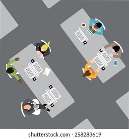 Diverse group of business men and women working in an open plan office EPS 10 vector royalty free stock illustration for ads, poster, flier, promotion, blog, social media, marketing, business