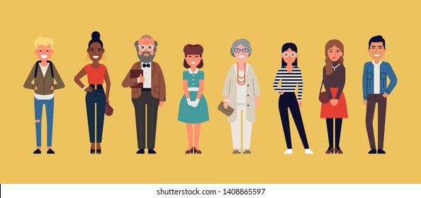 Diverse group of casual dressed multiracial and multiethnic people. Flat vector characters on different social group members lineup. Men and women of different age standing together, isolated