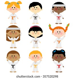 Diverse group of children athletes with martial arts uniforms. Vector illustration