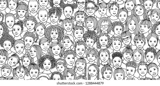Diverse group of children - seamless banner of 70 different hand drawn kids' faces, kids and teens of diverse ethnicity
