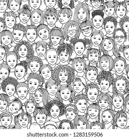Diverse group of children - seamless pattern of 70 different hand drawn kids' faces, kids and teens of diverse ethnicity