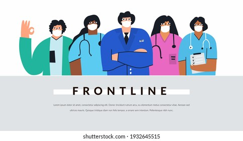 Diverse group of doctors and nurses with face masks. Frontline coronavirus fighters concept isolated on white. Healthcare professional workers flat vector banner. Hospital staff cartoon illustration