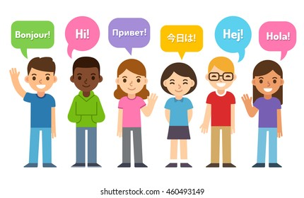 Diverse group of kids saying Hi in different languages. Cute cartoon flat vector style. Language learning and international education infographic vector illustration.