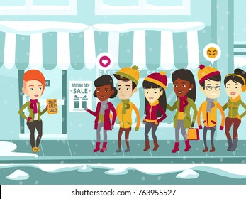 Diverse group of multiracial people standing in a queue to the store on the street for the boxing day sale and caucasian white woman distributing flyers with text sale. Vector cartoon illustration.