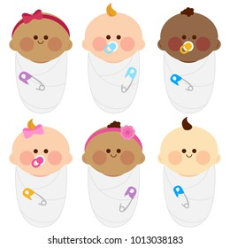 Diverse group of newborn babies wrapped in cloth