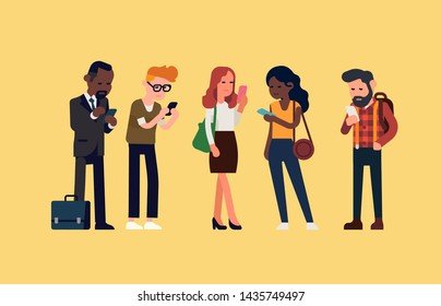 Diverse group of people checking their phones. Screen time, text neck and technology impact on daily life vector concept illustration