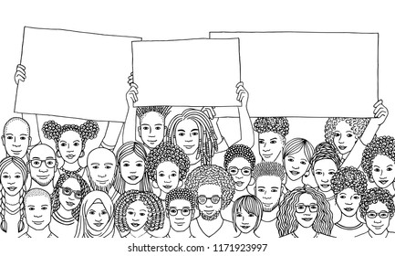 Diverse group of people of color holding empty signs, black and white illustration