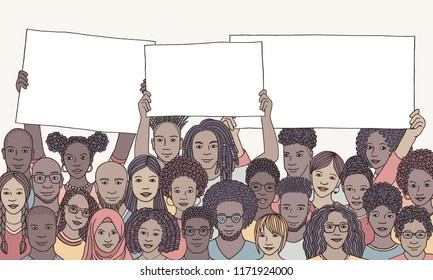 Diverse group of people of color holding empty signs