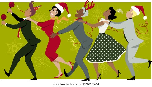 Diverse group of people dressed in vintage fashion and Christmas hats dancing Conga line, snowflakes and streamers on the background, EPS 8