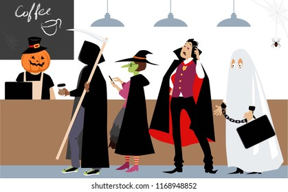 Diverse group of people in Halloween costumes  standing in line to a cash register in a coffee shop, EPS 8 vector illustration