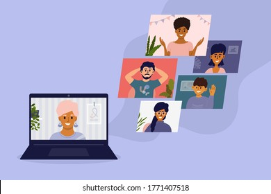 Diverse group of people talking online by video call. Virtual meeting or conference with friends or colleagues using laptop. Team work from home office. Internet connect technology vector illustration