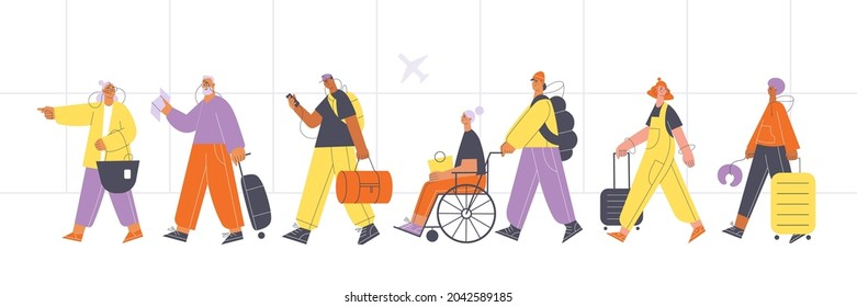 Diverse group of people walking in line with suitcases at the airport. Air traveling concept flat vector illustration.