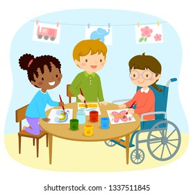 Diverse group of preschool kids including African American girl, Caucasian boy and a girl who uses a wheelchair drawing together happily at school.
