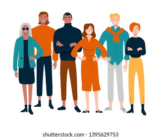 Diverse group of young people together portrait