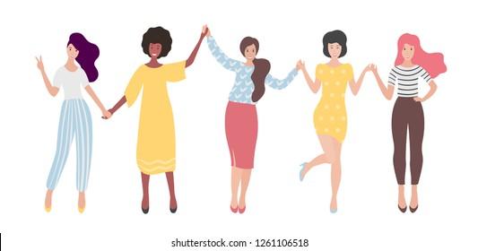Diverse international group of standing women or girl holding hands. Sisterhood, friends, union of feminists. Flat vector illustration.