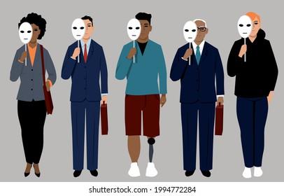 Diverse job applicants hiding behind neutral masks representing reducing bias in hiring process, EPS 8 vector illustration