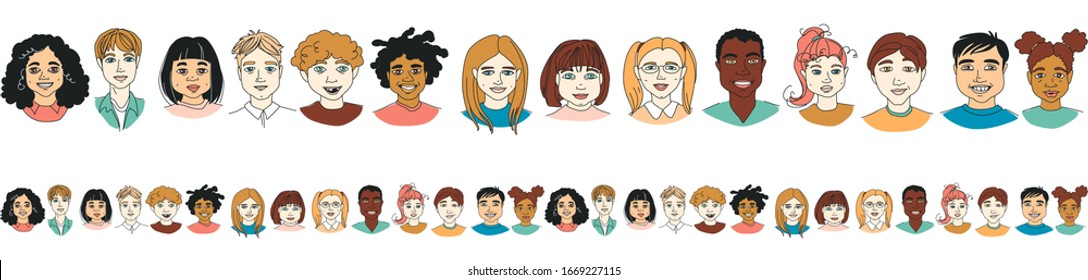 Diverse Kid's Children's head diversity seamless pattern border background. Hand drawn line drawing doodle vector illustration poster