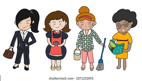 Diverse mother character with different duties: working, cooking,cleaning and reading bed time stories.