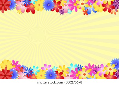 Diverse and multicolored flowers bordering the top and bottom of the vector. The background is formed by yellow rays of the sun.