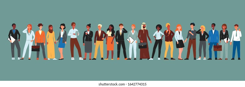 Diverse multicultural community of people - cartoon men in women in business attire standing in line. Flat banner with ethnic international crowd - isolated vector illustration.
