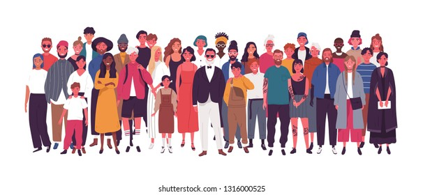 Diverse multiethnic or multinational group of people isolated on white background. Elderly and young men, women and kids standing together. Society or population. Flat cartoon vector illustration.