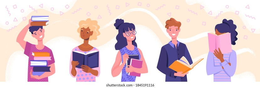 Diverse multiracial men and women holding books