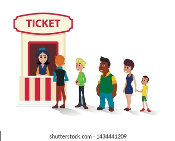 Diverse Multiracial People Queue, Adults and Child Characters to Cinema Ticket Office Flat Cartoon. Flat Booth with Friendly Smiling Box-Office Clerk or Cashier. Vector Walk to Movies Illustration
