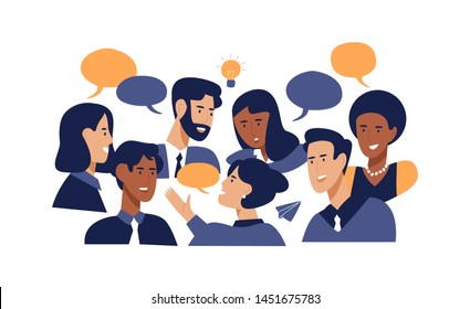 Diverse office people talking at brainstorming business meeting. Professional multi ethnic work colleagues in conversation with speech bubbles on isolated white background.