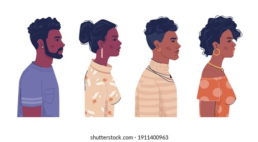 Diverse people, afro american men and women side view portraits, flat cartoon. Vector ebony, black african and creoles. Multiracial group with curly hair, Africa ethnicity population