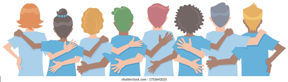 Diverse people arms around each other's shoulders from behind. Concept of teamwork or friendship. Vector illustration in flat cartoon style.
