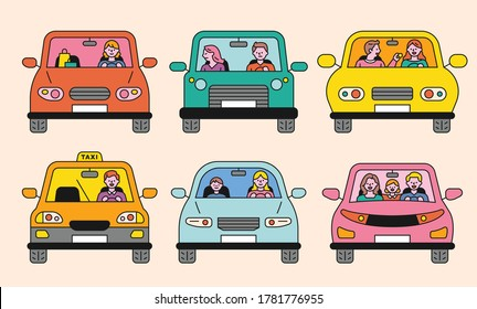 Diverse people in a car. The front of the car. flat design style minimal vector illustration.