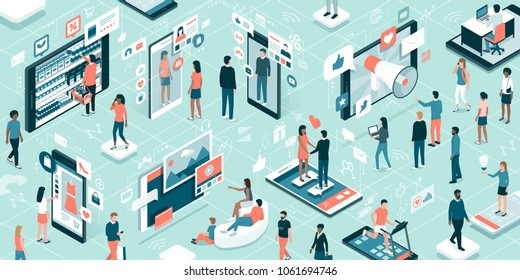 Diverse people connecting online and using apps on touch screen interactive mobile devices: technology, augmented reality and lifestyle concept