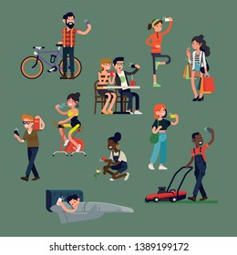 Diverse people doing selfies and making photos with smartphones in different situations and poses. Trendy flat vector illustration on different characters using their phone in everyday life