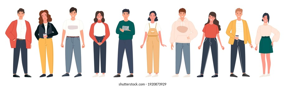 Diverse people group standing together on isolated white background. Happy young men and women character set. Vector illustration different citizen