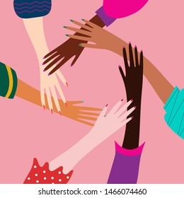 Diverse people hands putting together. Vector flat cartoon concept of teamwork, partnership, community, social community or movement. Group of people touch hands illustration