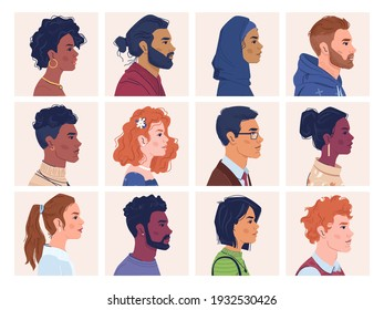 Diverse people, man and woman portraits, multiracial, multicultural crowd, side view portraits. Vector multi-ethnic group, afro american and caucasian, africans and europeans, multinational ethnicity