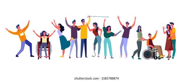 Diverse people set. Disabled men and women community. Flat vector illustrations. Diversity, communication concept for banner, website design or landing web page