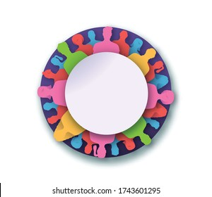Diverse people team papercut circle frame on isolated background. Colorful social group of different men and women with empty white copy space.