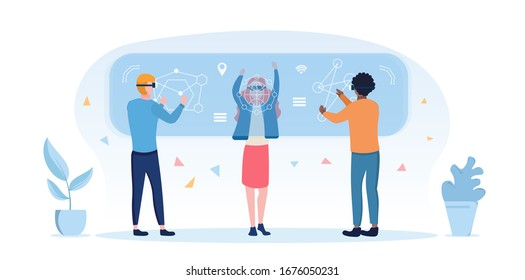 Diverse people using 3d virtual reality goggles with multiethnic people standing using a digital virtual screen simulation for augmented research, entertainment or education, vector illustration