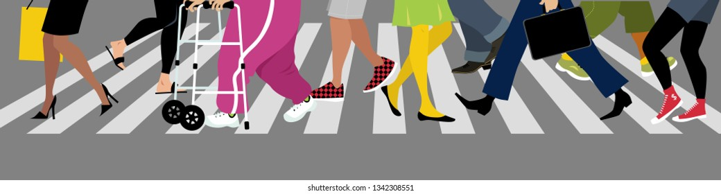 Diverse people's legs crossing a street at a crosswalk, EPS 8 vector illustration