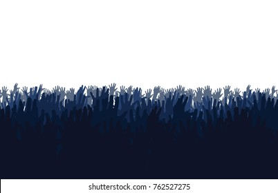 Diverse Raised Hands. Group of Diverse Hands Raised on night. vector, illustration.