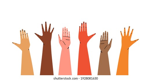 Diverse raised hands isolated on white background. Concept of social support and unity. Hand drawn flat vector illustration.