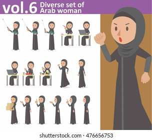 Diverse set of Arab woman on white background , EPS10 vector format vol.6