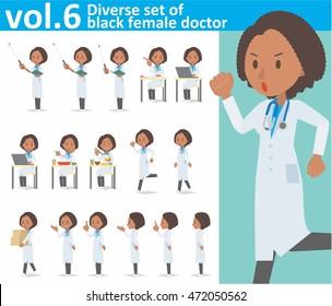 Diverse set of black female doctor on white background , EPS10 vector format vol.6