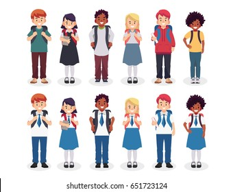 Diverse set of children with backpacks in school uniform and casual clothes. Cute cartoon simple flat vector style. Back to school illustration.