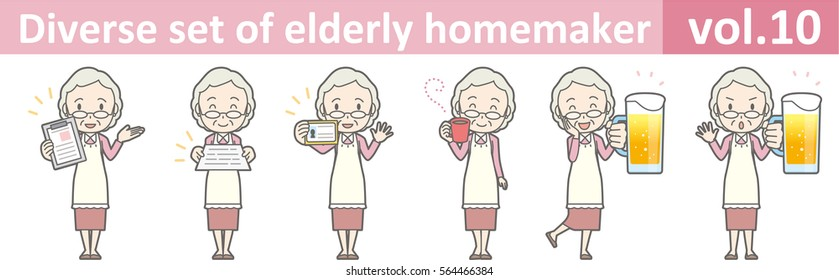 Diverse set of elderly homemaker, EPS10 vol.10 (Old woman who wears glasses)